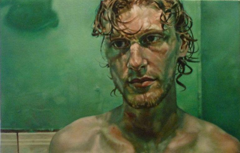 Ben in Tortuguero Green, a painting by Australian artist Katherine Edney