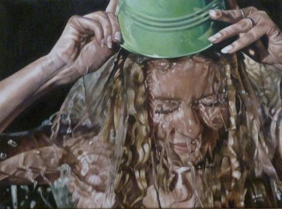 Bucket Face, a painting by Australian artist Katherine Edney