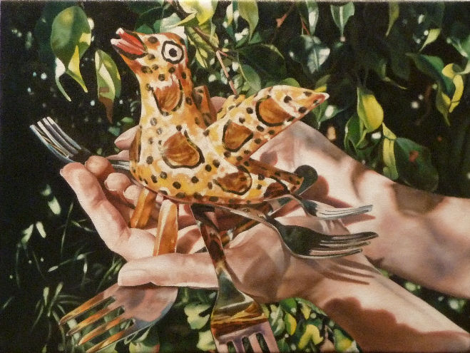 The Ever Elusive Resplendent Quetzal, a painting by Australian artist Katherine Edney