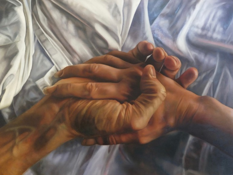 Katherine Edney's painting 'Ariel', depicting two hands holding on a bed.
