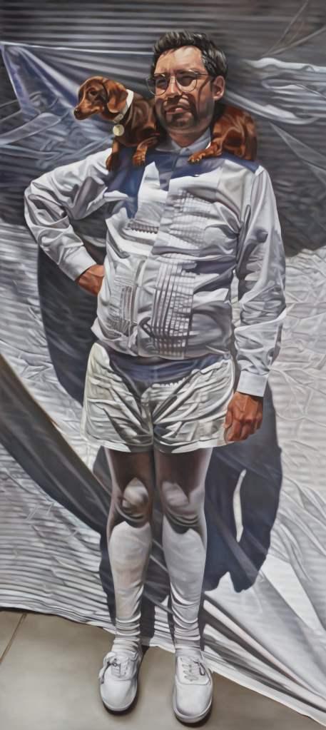 'David, Teena, and the black dog', Katherine Edney's 2020 Archibald Prize painting.