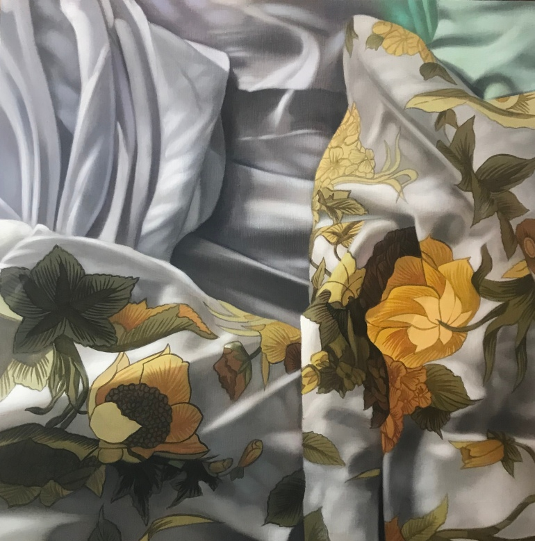 'Flowers on the Bed II', a painting by Australian artist and Archibald Prize finalist Katherine Edney.