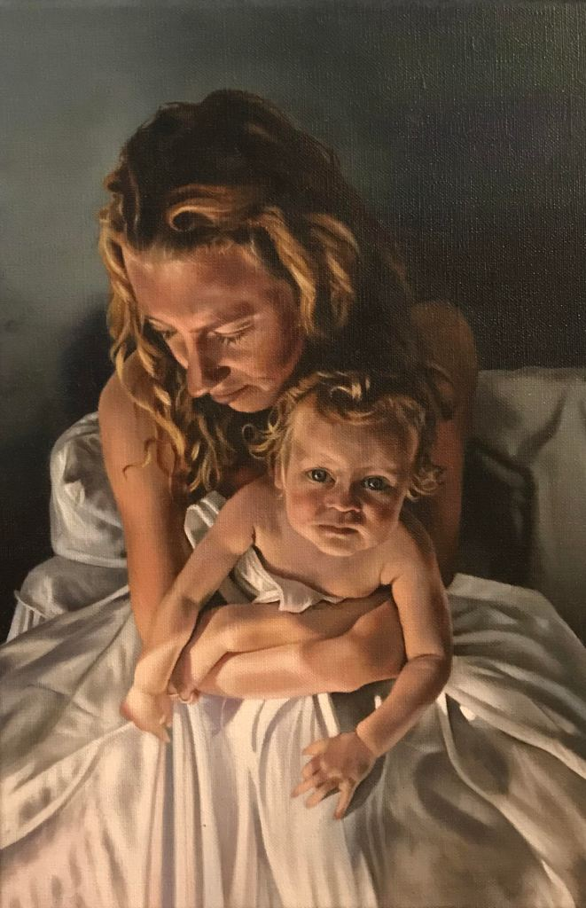 Katherine Edney's painting 'Self Portrait with Ariel at One'.